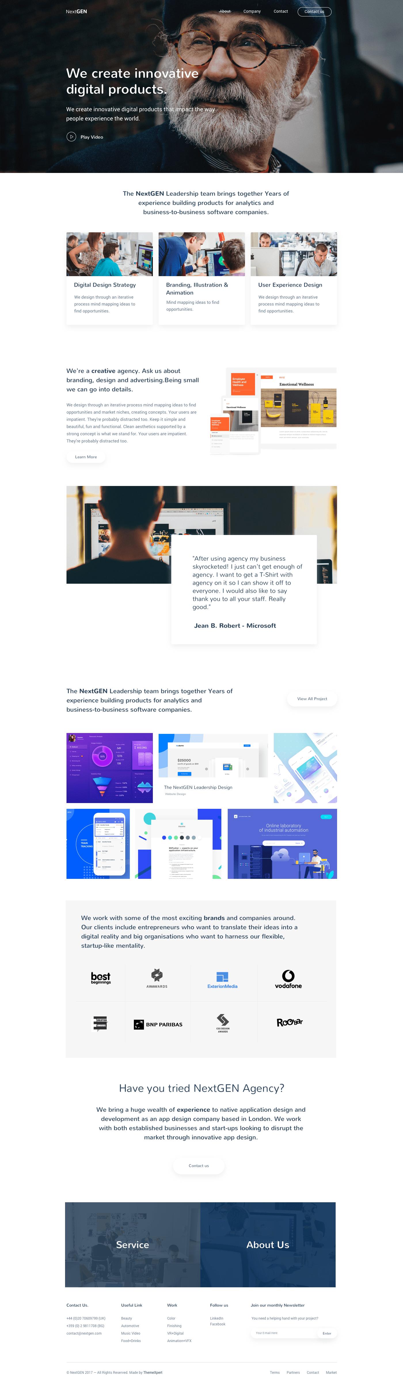 NextGEN - Free Sketch Template for Agency Website 1