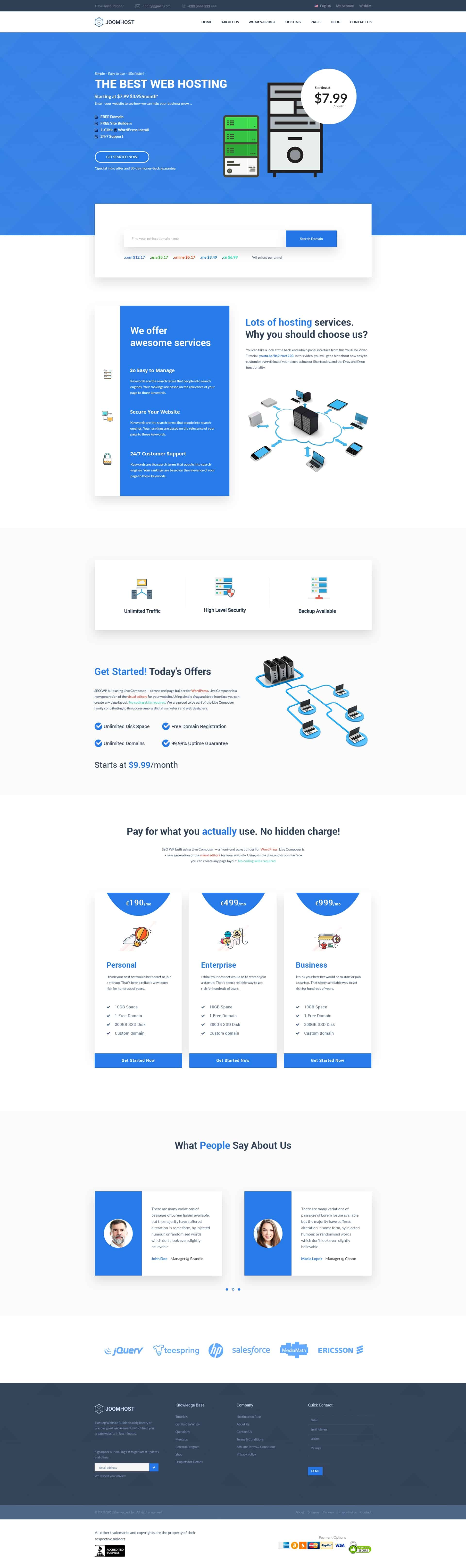 JoomHost - Cloud Hosting Landing Page PSD Template 1